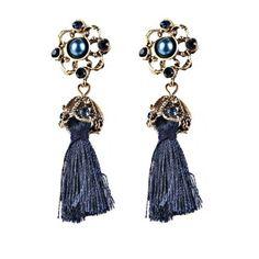 Vintage Tassel Rhinestone Drop Earrings Blue (14 RON) ❤ liked on Polyvore featuring jewelry, earrings, blue earrings, vintage jewelry, tassel earrings, blue drop earrings and tassle earrings