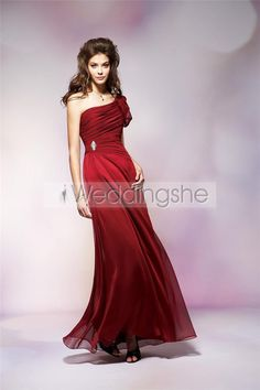 One-Shoulder Pleated Bodice Floor-Length Beading Bridesmaid Dress(Free Shipping)