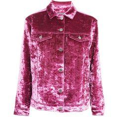 TopShop Moto Bonded Velvet Denim Jacket ($160) ❤ liked on Polyvore featuring outerwear, jackets, pink, topshop jackets, oversized jacket, velvet jacket, pink jean jacket and purple denim jacket