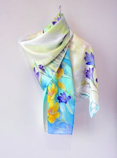 Hand painted scarf Silk scarf Crocuses Mothers day gift by Allatai