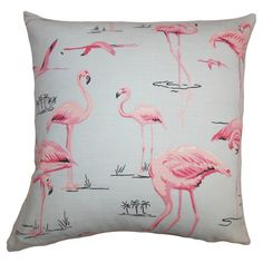 Cotton pillow with a flamingo motif and down insert. Made in Boston.     Product: PillowConstruction Material: Cotton ...