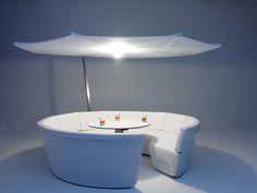 Canapé de jardin rond en similicuir KOSMOS by Extremis design Dirk Wynants