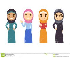 Illustration of Muslim women set. Cute cartoon Arab girls in traditional dress. vector art, clipart and stock vectors. Arab Girls, Muslim Girls, Muslim Women, Music Illustration, Woman Illustration, Cute Cartoon Girl, Girl Clipart, Islamic Girl, Cute Gif