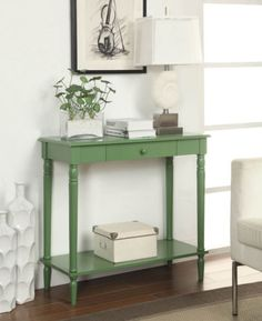 Convenience-Concepts-French-Country-Hall-Table-Green-6053188GN-Table-NEW