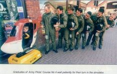Graduates of Army Pilots' Course No. 4 wait patiently for their turn in the simulator. Pilot Course, Pilot Humor, Best Places In Europe, Aviation Humor, Aviation Fuel, Aviation Technology, Military Humor, Army Humor, Military Veterans