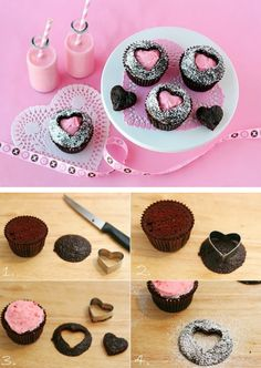 These adorable and creative Sweet Heart Cupcakes are surprisingly simple to make! Impress your guests with these heart cutout cupcakes! Heart Cupcakes, Yummy Cupcakes, Cupcake Cookies, Valentine Cupcakes, Pink Cupcakes, Filled Cupcakes, Valentine Treats, Chocolate Cupcakes, Valentine Heart