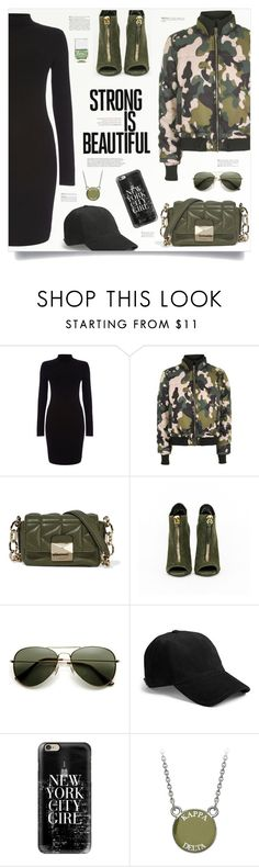 """""""Strong is beautiful"""" by kiki-bi ❤ liked on Polyvore featuring Phase Eight, Topshop, Andrea, Karl Lagerfeld, rag & bone, Casetify, Nails Inc., GREEN, camo and turtleneckdress"""