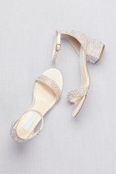 Low Block Heel Sandals with Allover Gem Embellishment Prom Heels from David's Bridal is part of Bridal shoes low heel - Low Block Heel Sandal, Low Heel Sandals, Low Heel Shoes, Sandals With Heels, High Heels, Block Sandals, Ankle Strap Flats, Women Sandals, Bridal Heels