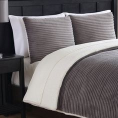 Ribbed Plush Comforter Set by Ellison Cozy Winter Gray - 15911603CMS-GRY