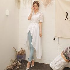 Buy Aurora Short-Sleeve Dip-Back Shirtdress at YesStyle.com! Quality products at remarkable prices. FREE WORLDWIDE SHIPPING on orders over US$ 35.