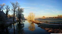 A calm river in winter Hd Wallpaper