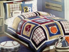 Time for Bed Sports Burgundy & Navy Quilt Set, Full/Queen