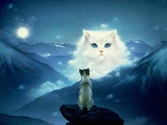 White cat in art. Paintings with gorgeous white cat. Rainbow Bridge Cat, Animals And Pets, Baby Animals, Animal Babies, Creation Photo, Surrealism Painting, Pet Loss, White Cats, Pet Memorials
