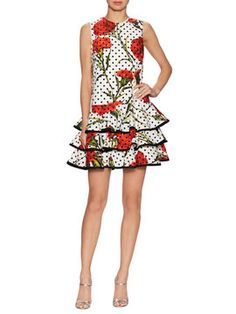 746cbd1a514 Dotted Floral Dress from Dolce Tiered Skirts