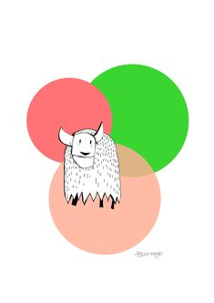 Yak illustration by Alana Moyes. Buy digital print on etsy.com  #yak illustration #yak All Art, Craft Supplies, Digital Prints, Alphabet, Handmade Items, Creatures, Illustration, Monkey, Artwork