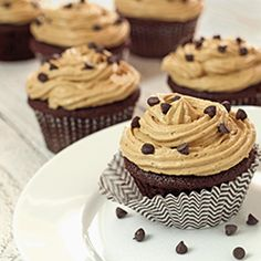 """Chocolate Cupcakes with """"Peanut Butter"""" Frosting.  Healthy paleo version, sinfully delicious. No peanuts or refined sugar. Gluten-free easy recipe"""