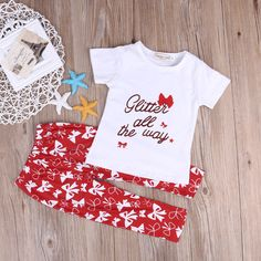 >> Click to Buy << Summer Newborn Baby Girls Kid White Short Sleeve Letter Cotton T-shirt+Red Bow Print Long Pants Outfit Clothes Set 2pcs Set #Affiliate