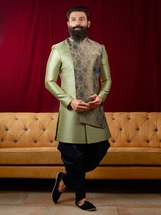 Light green double layer indo western for wedding Blazer For Men Wedding, Wedding Kurta For Men, Wedding Dresses Men Indian, Wedding Dress Men, Wedding Men, Western Dresses For Mens, Wedding Outfits For Men, Wedding Suits, Wedding Events