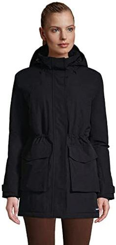 This parka is windproof and waterproof to keep out rain, snow, ice, and sleet. It's insulated and has a fleece lining to add extra warmth, but is designed to be lightweight in certain areas (like the lower body and hood) so it won't feel too heavy. Best Parka, Winter Parka, Parka Coat, Lands End, Hooded Jacket, Rain Jacket, Windbreaker, Fashion Outfits, Hoodies