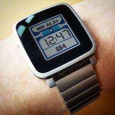 """Schmurbery Digital 04"" #Watchface by @schmilk on #PebbleTimeSteel with original steel #watchband #pebble #smartwatch"