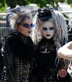 Victorian women, steampunk gentlemen, punk babies, dating elder goths... Only at Wave Gotik Treffen, the biggest Gothic music and culture festival! Info on the 2014 Leipzig edition:  http://www.lacarmina.com/blog/2014/04/wave-gotik-treffen-2014-steampunk-goths/  white face paint goth girl with dreads