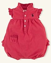 Ralph Lauren Baby Romper, Baby Girls Mesh Polo Bubble Shortall