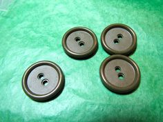 "(4)  3/4"" TEXTURED COLT-LIKE DARK GRAY PLASTIC 2-HOLE BUTTONS-VINTAGE Lot#NL817"