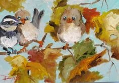Chubby Fall Birds, painting by artist Delilah Smith