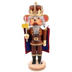 Christian Ulbricht Natural Wood Finish Mouse King with Cheese Nutcracker