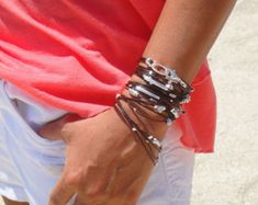 Brown and Silver Leather  Bracelet / Necklace - Available in 10 colors