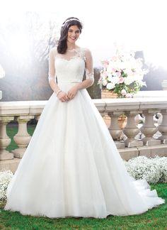 Robes de mariée - $201.85 - Forme Marquise Col rond Traîne mi-longue Tulle Robe de mariée avec Dentelle Emperler À ruban(s) (00205003557)