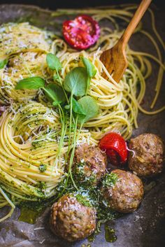 ... pasta with kale pesto-like sauce and baked non-beef meatballs ...