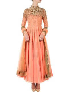 Unique Coral Anarkali Suit With Gold Sequin Beaded Flowers