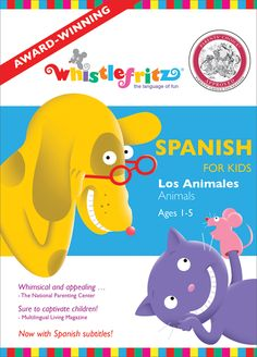 Explore the world of animals and sounds!  Young children will giggle with glee at this motley group of animals, and playful puppets will have your kids up on their feet dancing and singing along to beloved Spanish-language folksongs.  This Spanish DVD gives children an ideal introduction to Spanish, through skits, dance, song, and play. Children learn the names and sounds of animals in Spanish.  Designed for ages 1-5, Los Animales is perfect for the whole family!