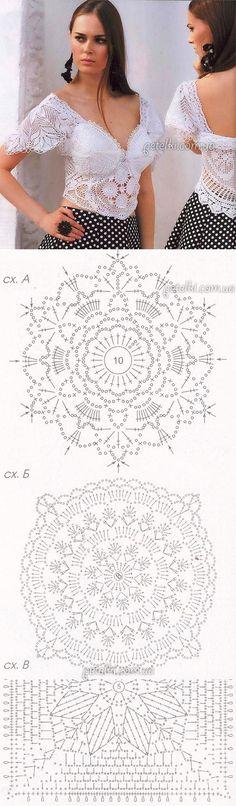 Топ крючком в богемном стиле. Описание, возможные схемы | топы кофты жакеты | Постила Crochet Skirts, Crochet Tunic, Irish Crochet, Crochet Clothes, Crochet Lace, Crochet Motif Patterns, Bead Loom Patterns, Crochet Squares, Crochet Wedding Dresses