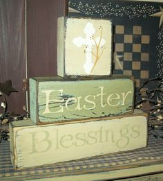 EASTER BLESSINGS CROSS PRIMITIVE EASTER BLOCK SIGNS SIGN