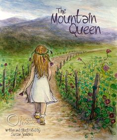 """Book Cover ... """"The Mountain Queen"""" - I am a pastel artist and this was my second water color painting attempt. I have written a children's book and I was doing some quick sketches for the illustrations. I sort of did this one just for fun, but I'm thinking I might use watercolor for the actual book instead of pastels. The story is from a true account of my great grandmother's life in the Appalachian mountians. It is written in verse and is sort of like a love story between her and the…"""