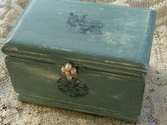 Wood Box Shabby French Country Blue Vintage by RustbeltTreasures, $32.00