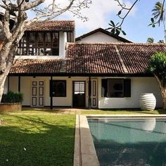 Regram from One of our two pools - take a dip amongst the frangipani trees and Geoffrey Bawa landscaped gardens… Tropical Architecture, Architecture Design, Architecture Student, Long House, Tropical Houses, Tropical Paradise, Courtyard House, House Goals, Traditional House
