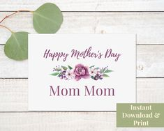 Printable Mother's Day Card for Great Mom Mom - Mother's Day Greeting Card Great Grandmother, Grandma, Digital Download Mother's Day For Daughter, Happy Mothers Day Daughter, Happy Mothers Day Images, Mothers Day Cards, Mother's Day Printables, Printable Cards, Diy Homemade Cards, Grandma Crafts, Happy Mother's Day Card