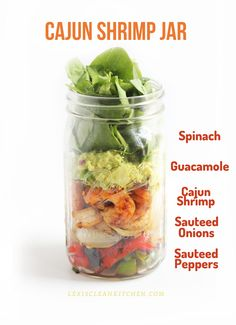 Cajun shrimp mason jar salad