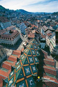 A rooftop view of St Gallen, Switzerland. Gallen evolved from the hermitage of Saint Gall, founded in the century. Today, it is a large urban agglomeration and represents the center of eastern Switzerland. Great Places, Places To See, Beautiful World, Beautiful Places, Travel Around The World, Around The Worlds, Reisen In Europa, Budapest, Beaux Villages