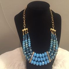 Aquamarine beaded Necklace and Earring Set Triple layered glad bead necklace set. Amazing range of blue faceted stones. And rhinestone panels. Length 19 in with 3 in extension. Earrings 1 3/4 in length. Beautiful gold detail Lewboutiquetwo Jewelry Necklaces