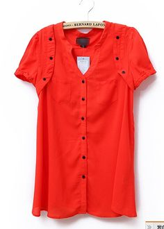 Red Button V Neck