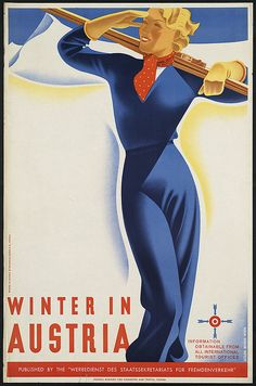 ¤ Winter in Austria by Joseph Binder,  1898-1972 (artist). Vienna, printed in Austria by Waldheim-Eberle A.G.