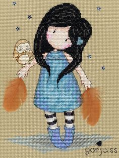 The cute cartoon girl with the stripey socks and a pet owl by starlight.