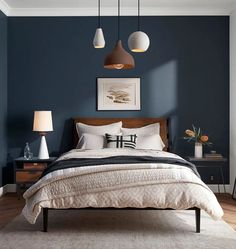 Home modern bedroom color schemes Ideas for 2019 Home Decor Bedroom, Bedroom Decor, Bedroom Color Schemes, Bedroom Colors, Simple Bedroom, Small Bedroom, Blue Bedroom, Modern Bedroom, Bedroom Wall
