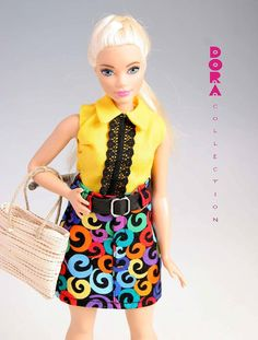 Barbie clothes for curvy doll, 4piece set