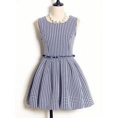 Vintage Sleeveless High Waist Houndstooth Printed Dress