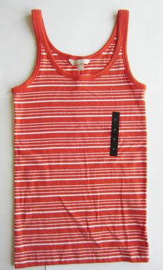 Banana Republic Women's Orange Stripe Cotton Tank Top Size S NWT #BananaRepublic #TankCami #Casual